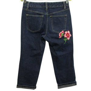 Tommy Hilfiger Cropped Embroidered Flower Jeans